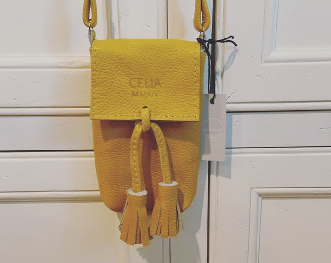 Mustard yellow Small Handmade Leather Cell Phone Purse/ Small Leather Cross body.