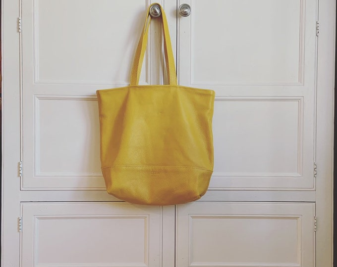 Market Tote; Beach Bag; Handmade Leather Tote; yellow tote; mustard yellow tote; tote