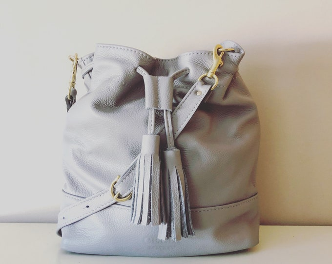 Leather Drawstring Bucket Bag/Purse