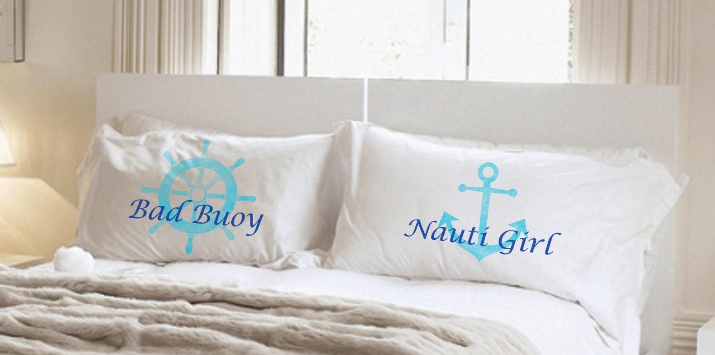 Nauti Girl Bad Buoy Pillowcase Set Wedding Gift Couples Etsy