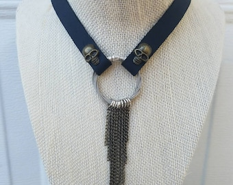 Black Leather Fringe Skull Choker, Guitar String Necklace, Rocker Girl, Metal Jewelry, Unique Funky Jewelry, Gifts for Her Under 50