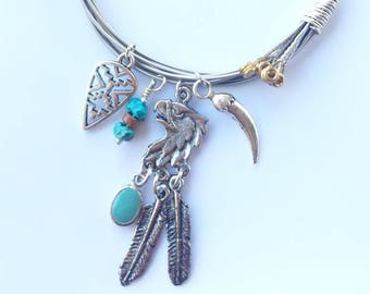 Southwestern Guitar String Bracelet, Cowgirl Bangle, Chicana, Country Music, Turquoise Jewelry, Guitar Player, Unique Gifts for Musicians