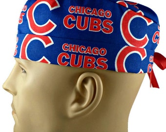 811921c3d76 Men s Adjustable Fold-Up Cuffed (shown) or Uncuffed Surgical Scrub Hat  Handmade of Chicago Cubs Licensed Fabric