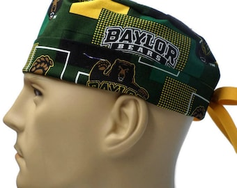 6a17484f9 Men s Adjustable Fold-Up Cuffed or Uncuffed Surgical Scrub Hat Cap made of Baylor  Bears New Block fabric