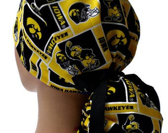 hot sale online 001c8 baed1 Women s Adjustable Ponytail Surgical Scrub Hat Cap Handmade of Iowa  Hawkeyes Squares fabric