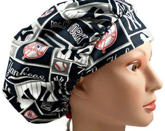 promo code 69d05 3f434 Women s Adjustable Bouffant Surgical Scrub Hat Handmade of New York Yankees  Squares Licensed Fabric