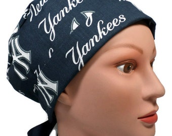 Women s Adjustable Fold-Up Pixie Surgical Scrub Hat Handmade of Yankees Navy  Licensed Fabric 7a67548c8196