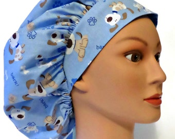 3191aa85d8f Women's Adjustable Bouffant Surgical Scrub Cap Hat in Puppy Dogs Bark! with Elastic  and Cord-Lock