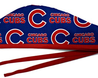 c2b8830b4a9 Men s Unlined Surgical Scrub Hat Cap Handmade of Chicago CUBS Licensed  Fabric