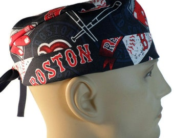 95e95a33a5a9e Men s Adjustable Fold-Up Cuffed (shown) or Uncuffed Surgical Scrub Hat  Handmade of Boston Red Sox Vintage Licensed Fabric