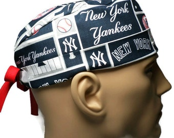 Men s Adjustable Fold-Up Cuffed or Uncuffed Surgical Scrub Hat Handmade of New  York Yankees Squares Licensed Fabric 2db269fb399d