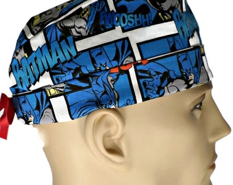 955501e734b Men's Adjustable Fold-Up Cuffed (shown) or No Cuff Surgical Scrub Hat Cap  Handmade of Batman Blue Licensed Fabric