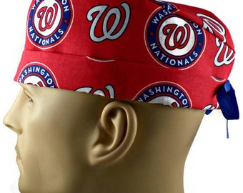 Men s Adjustable Fold-Up Cuffed or Uncuffed or Unlined Surgical Scrub Hat  Handmade of Washington Nationals Licensed Fabric f15066385fd5