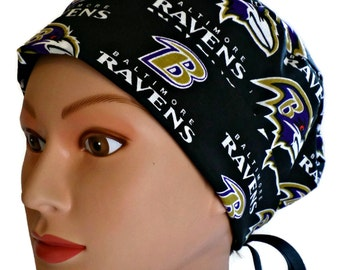 355864e32 Women s Adjustable Fold-Up Pixie Surgical Scrub Hat Handmade of Baltimore  Ravens Licensed Fabric