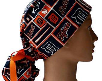 promo code b0c45 c5ab5 Women s Adjustable Ponytail Surgical Scrub Hat Cap Handmade of Detroit  Tigers Squares Fabric