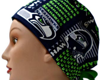 abdb27195b35d Women s Adjustable Fold-Up Pixie Surgical Scrub Hat Handmade of Seattle  Seahawks Squares Licensed Fabric