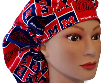 Women s Adjustable Bouffant Ponytail or Pixie Surgical Scrub Hat Handmade  of Mississippi Rebels