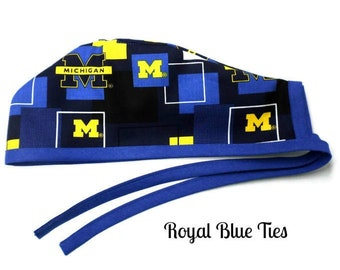 Men s Unlined Surgical Scrub Hat Cap Handmade of Michigan Wolverines New  Block Licensed Fabric 20630c88bbcd