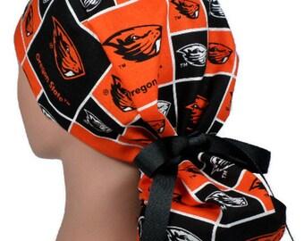 best cheap 70913 2dc41 Women s Adjustable Ponytail Surgical Scrub Hat Cap Handmade of Oregon  Beavers fabric