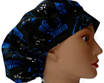 bc089a846a5 Women's Adjustable Bouffant Surgical Scrub Hat Handmade of Carolina  Panthers Licensed fabric w/ elastic and cord-lock