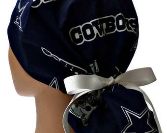 Women s Adjustable Ponytail Surgical Scrub Hat Cap Handmade of Dallas  Cowboys Navy Licensed Fabric 6bbf2a6ecaf