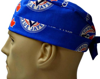 4477900bd ... clearance mens adjustable fold up cuffed or un cuffed surgical scrub hat  made of toronto blue