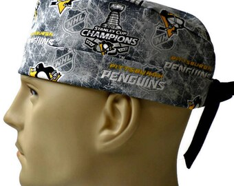 feb0d05b36c2d ... shopping mens adjustable fold up cuffed or un cuffed surgical scrub hat  handmade of pittsburgh penguins