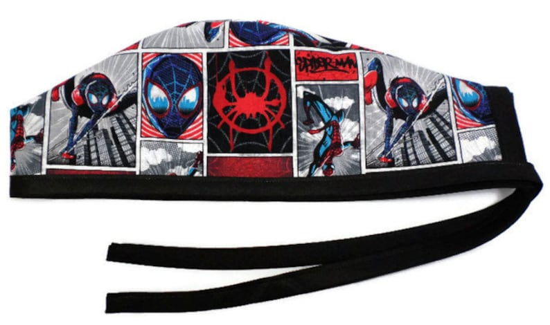 53c8f5040 Men's Optional Sweatband Unlined Surgical Scrub Hat Cap Handmade of  Spiderman Squares Fabric