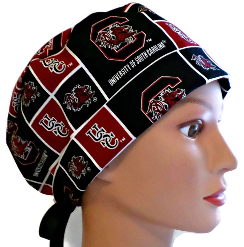 53ed2a14b Women's Adjustable Fold-Up Pixie Surgical Scrub Hat Handmade of USC  Gamecocks fabric