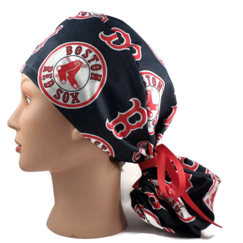 e307e5320 Women's Adjustable Ponytail Surgical Scrub Hat Cap Handmade of Boston Red  Sox Fabric
