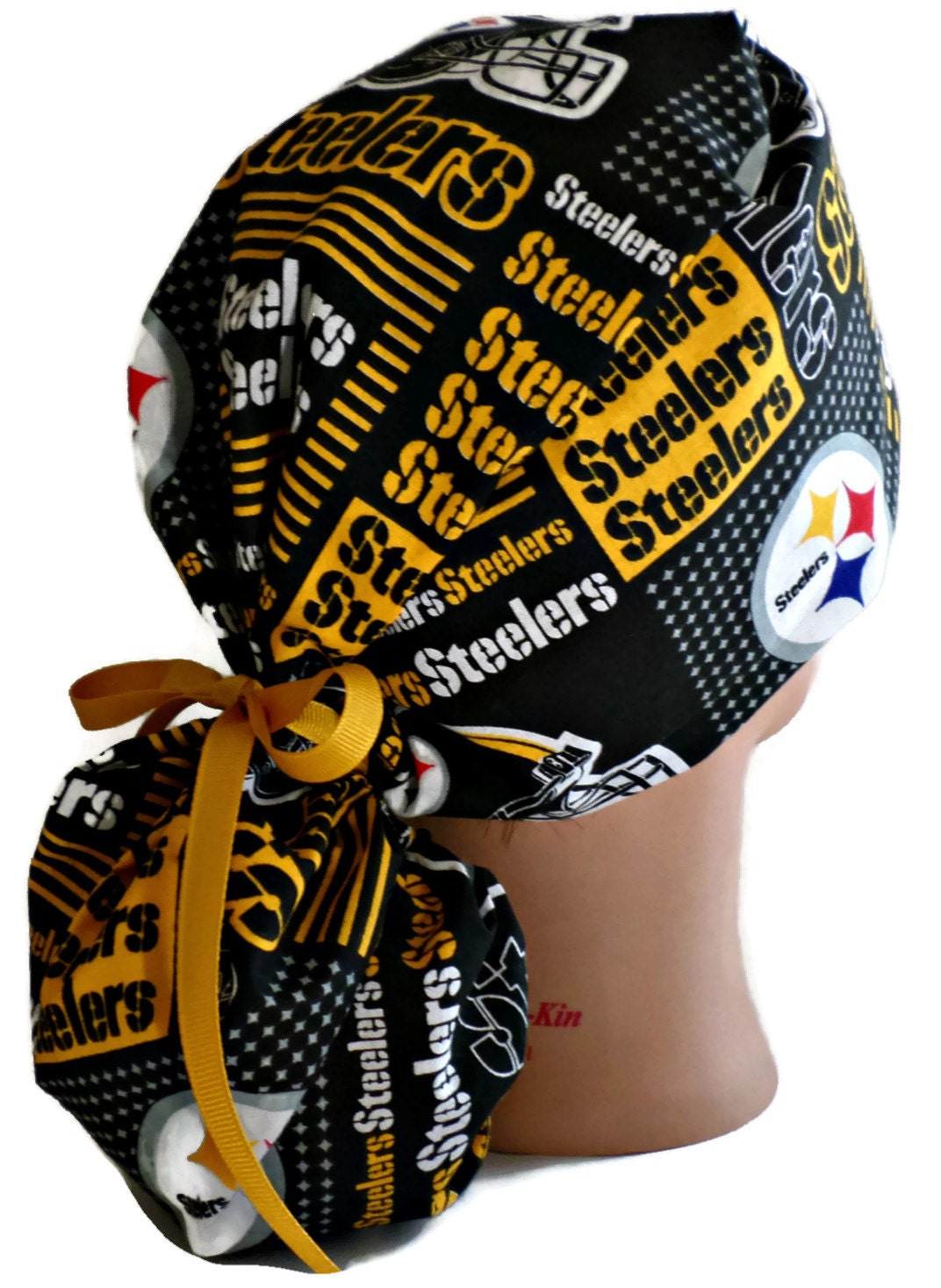 9677311f7 Women's Adjustable Ponytail Surgical Scrub Hat Cap Handmade of Pittsburgh  Steelers Squares Fabric