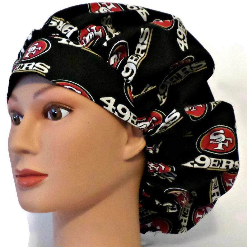 27d81f4e Women's Adjustable Bouffant Surgical Scrub Hat Handmade of San Francisco  49ers Fabric