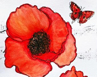 Big Red Poppy Giclee Print 10x10 Mixed Media