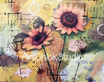 Sunflower Love Mixed Media 9x12 Giclee Print