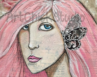 Butterfly Mixed Media Girl 9x12 Giclee Print