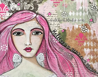Believe in Your Own Magic Giclee Print 10x10 Mixed Media Girl Fairy