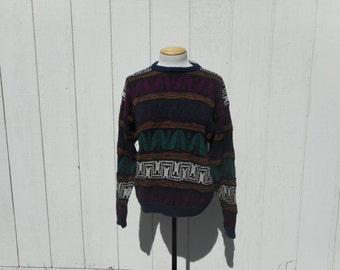 60fbd1d9e3c69 90 s NOS Vintage Multicolored Striped Sweater (Unisex Adults-Size Large)