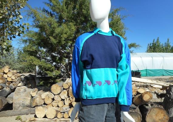 80's Vintage Retro Blue Skiwear Sweatshirt (Unise… - image 6