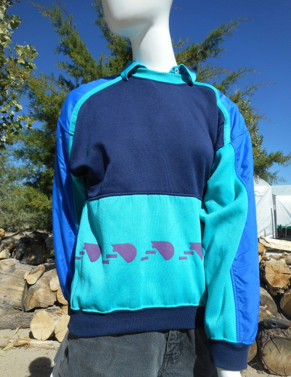 80's Vintage Retro Blue Skiwear Sweatshirt (Unise… - image 3