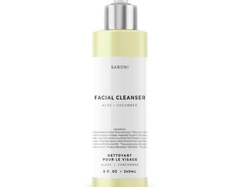 Organic Aloe and Cucumber Foaming Face Wash and Cleanser for Sensitive to Normal Skin