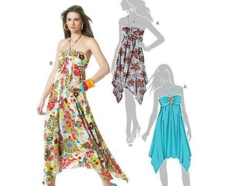 1911c343c91f0 McCalls M6113 Sewing Pattern Misses Easy Halter Bodice Handkerchief Hemline  Dresses in Two Lengths sz 12-18 Uncut
