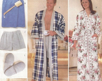 d11c19975a Butterick 5027 Sewing Pattern His and Her Gifts Unisex Robe Wrap Slippers  Hanger Cover Make-up Bag Roll Sofa Caddy Boxers Pillow Cover Uncut