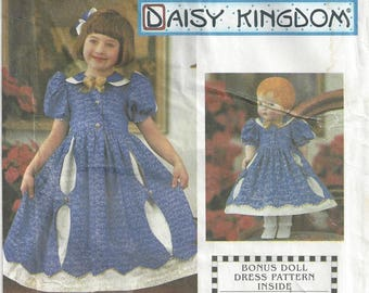 "Simplicity 0636 Sewing Pattern Daisy Kingdom Girls Dress and Doll Dress for 18"" Doll sz 3 thru 6 Uncut"