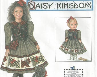 "Simplicity 7744 Sewing Pattern Daisy Kingdom Girls Dress and Purse and Doll Dress for 17"" Doll sz 7 thru 12 Uncut"