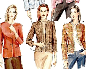 Vogue Sewing Pattern V7975 Collarless Jacket Coat Spring Sportswear Fashion Basic Plus Petite Sizes 18 20 22 Button or Open Front UNCUT