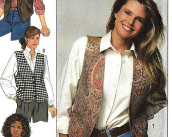 Simplicity 9373 Sewing Pattern Misses Lined Vests with Trim Variations Easy to Sew Christie Brinkley Collection sz 6 thru 12 Uncut