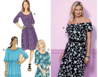 41106d3eb36d5 Butterick B6451 Sewing Pattern Misses Gathered Elastic Neckline Blouson  Dresses XS-M or L-XXL Uncut