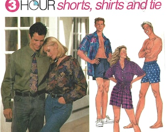 e153ad10c4 Simplicity 8150 Sewing Pattern Unisex Misses Mens or Teen Boys 3-Hour  Shorts Shirt and Tie sz XS-M or L-XL Uncut