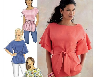 Butterick B6685 Sewing Pattern Misses Pullover Top with Neckline and Sleeve Variations and Sash sz XS-M or L-XXL Uncut