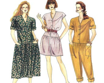 McCalls 0022 Sewing Pattern Misses Easy Dropped Waist V-neck Jumpsuit and Dresses With or Without Sleeves sz 10 Thru 20 Uncut
